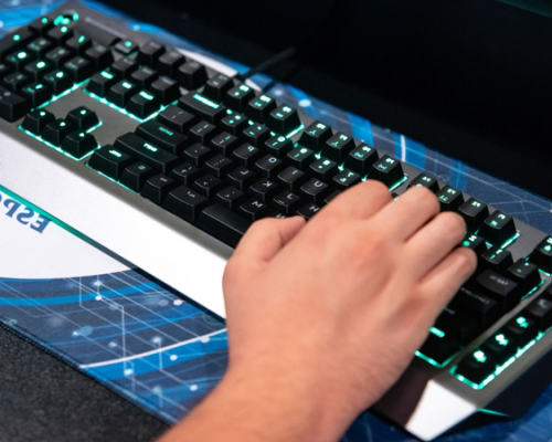 Left hand on an esports keyboard